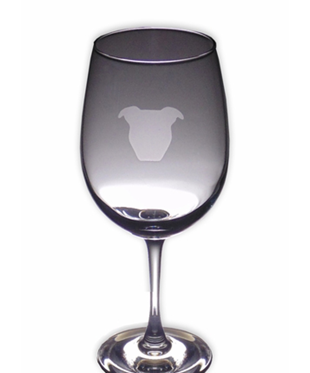 Pit Bull Wine Glass - Face Natural Ears