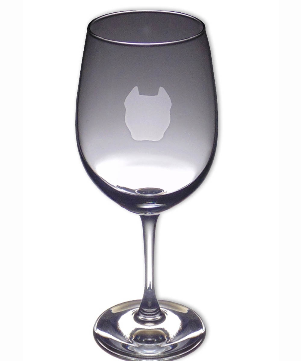 Pit Bull Wine Glass - Face Cropped Ears