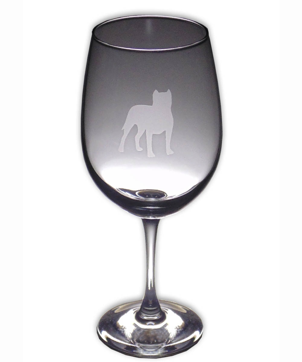 Pit Bull Wine Glass - Profile Cropped Ears