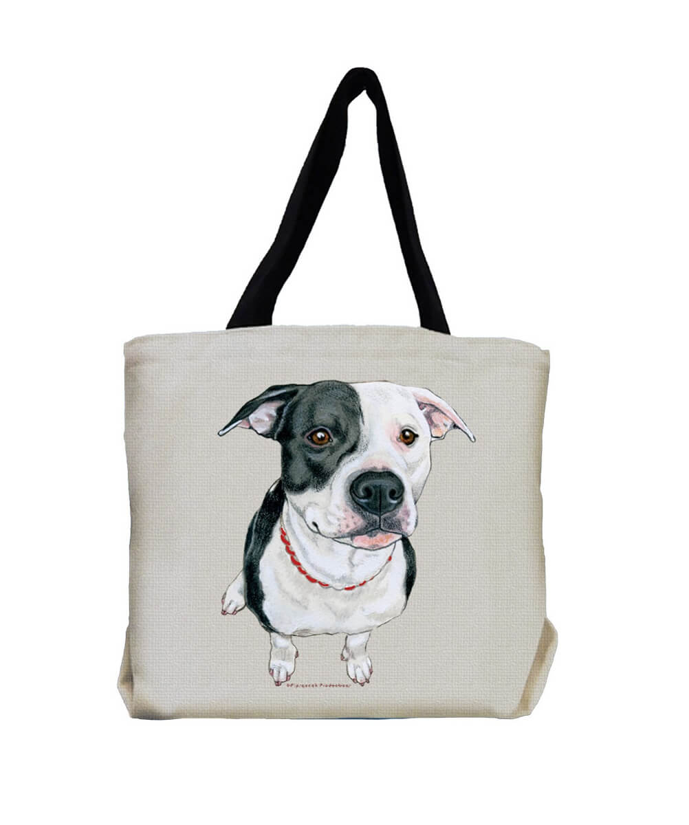 Black and White Pit Bull Terrier Tote Bag