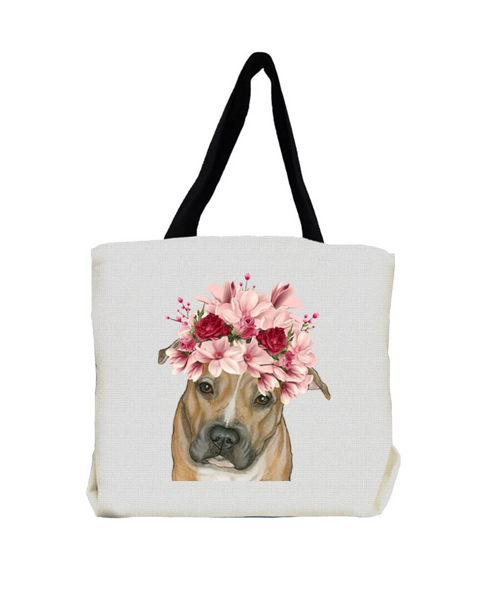 Peaceful Pit Bull Terrier with Flowers Tote Bag