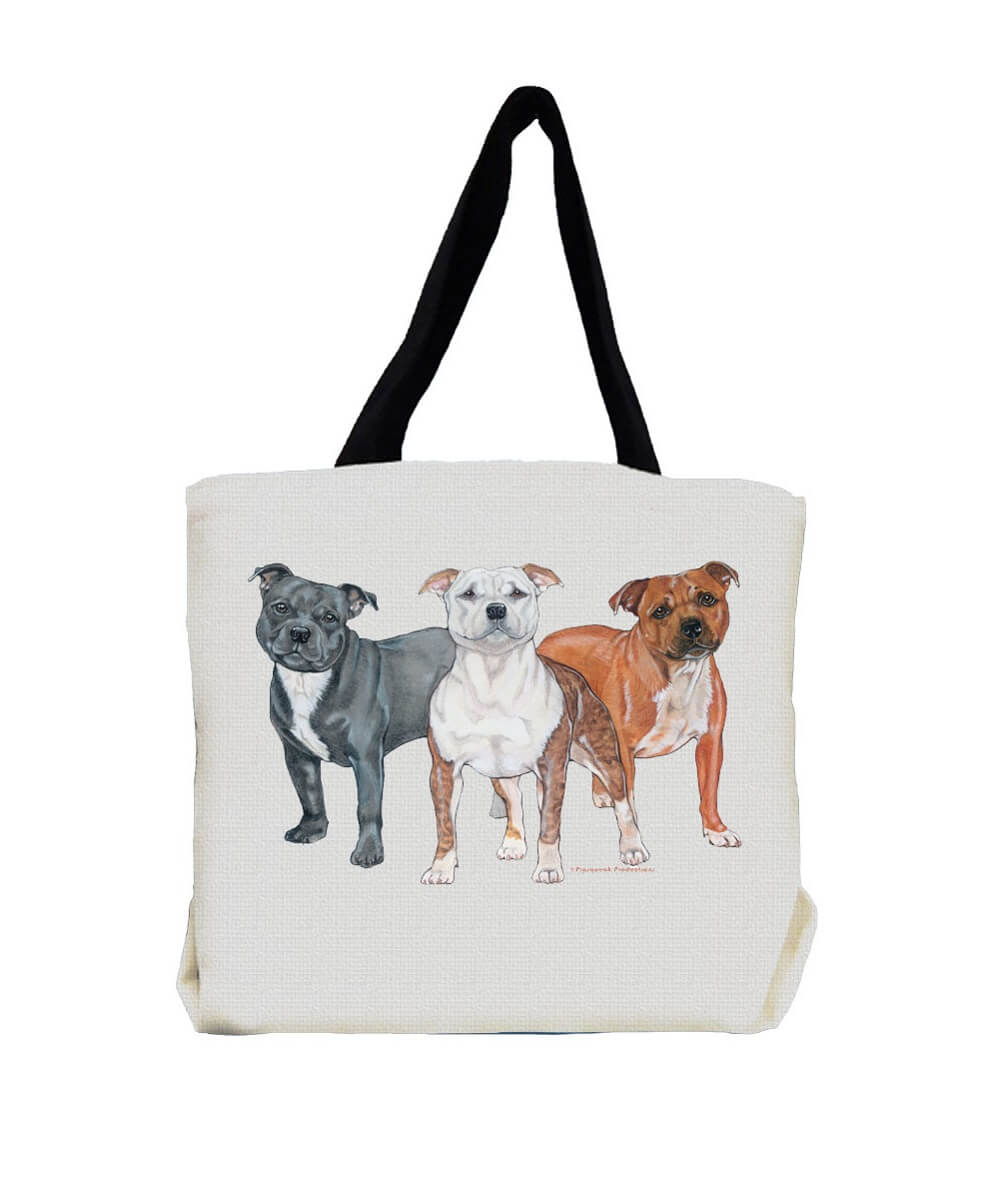 Staffie Trio Pit Bull Terrier Tote Bag