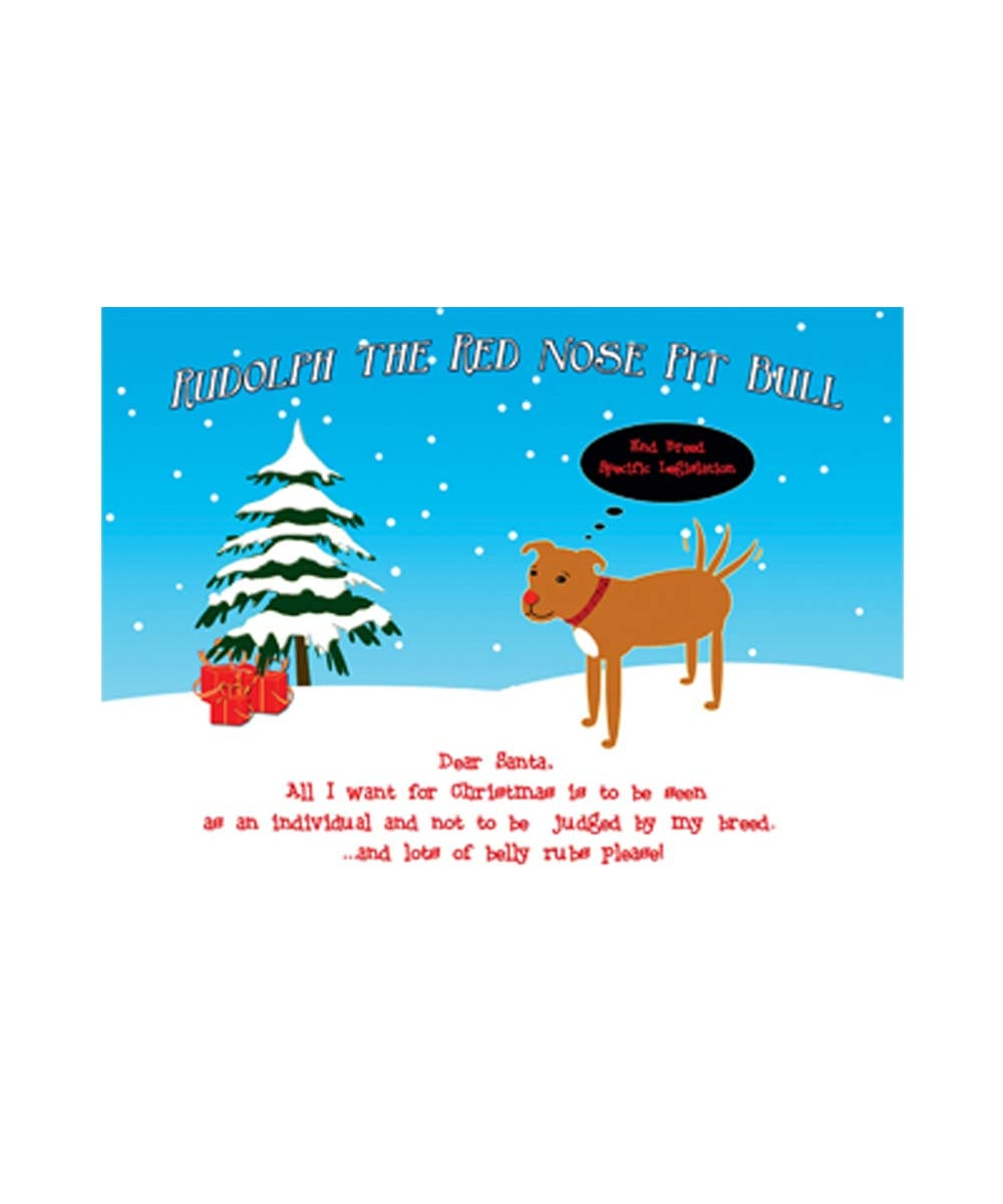 Rudolph the Red Nose Pit Bull Christmas Cards (Pack of 10)
