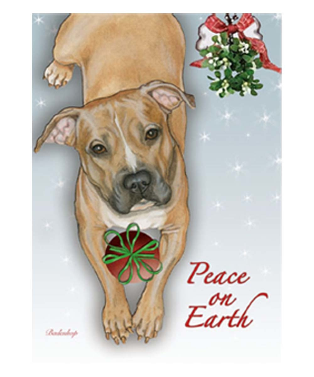 Peace on Earth Peaceful Pit Bull Christmas Cards (Pack of 10) Fawn