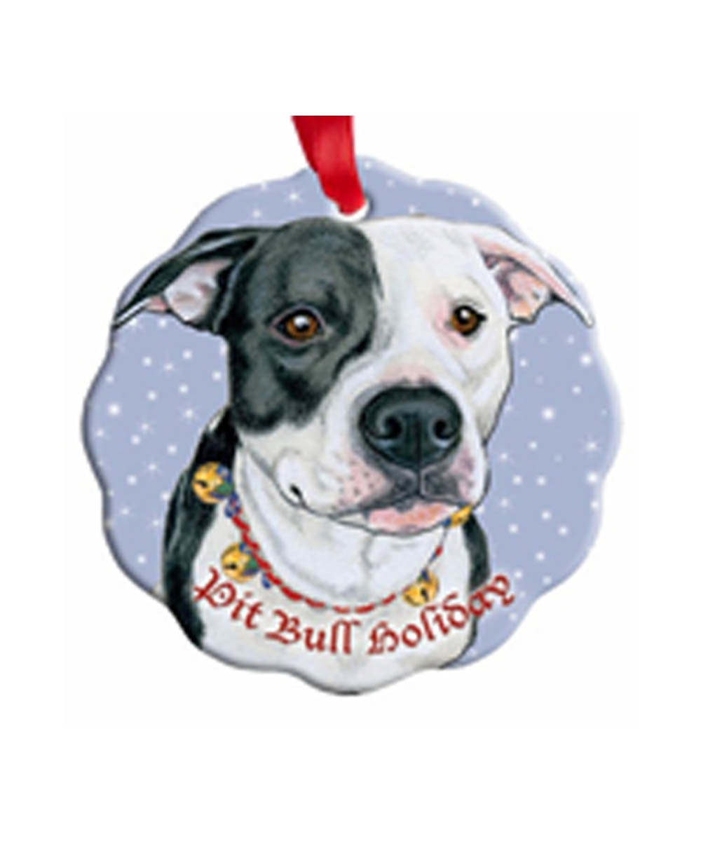 Black and White Pit Bull Porcelain Ornament
