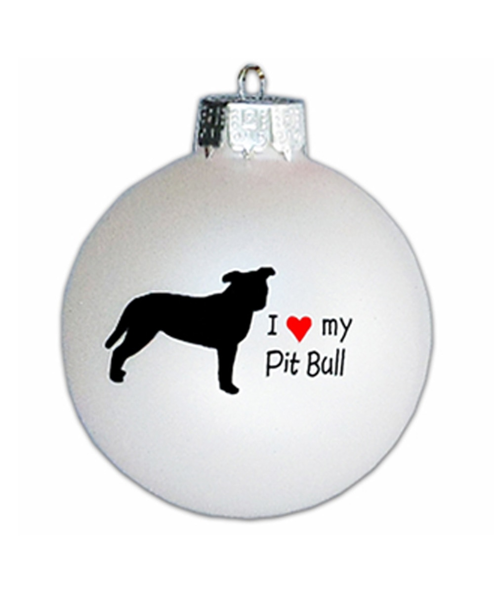I Love My Pit Bull Glass Ornament (Natural Ears)