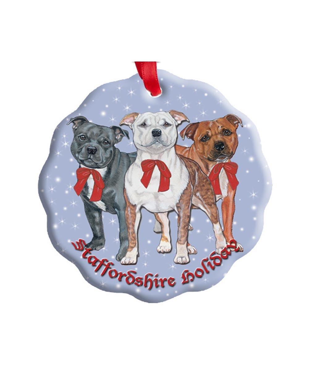 Staffie Trio Pit Bull Porcelain Ornament