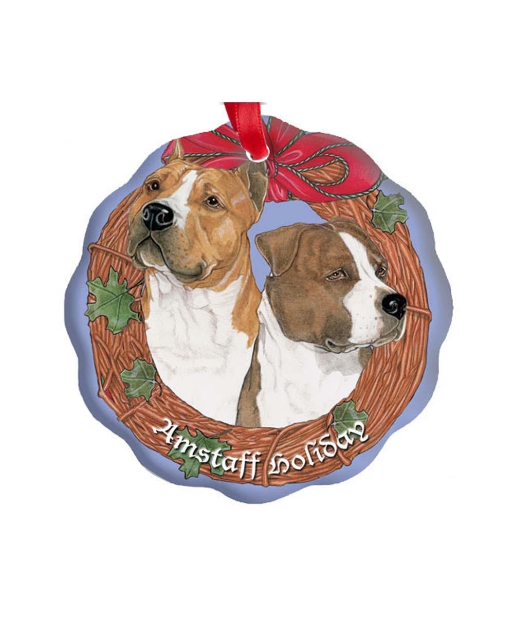 Am Staff Pit Bull Porcelain Ornament