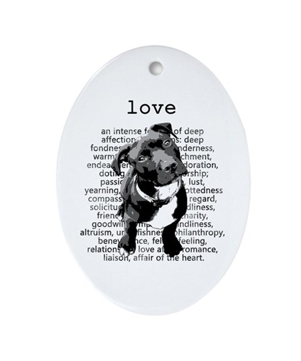 Pit Bull Love Oval Porcelain Ornament (Gray)