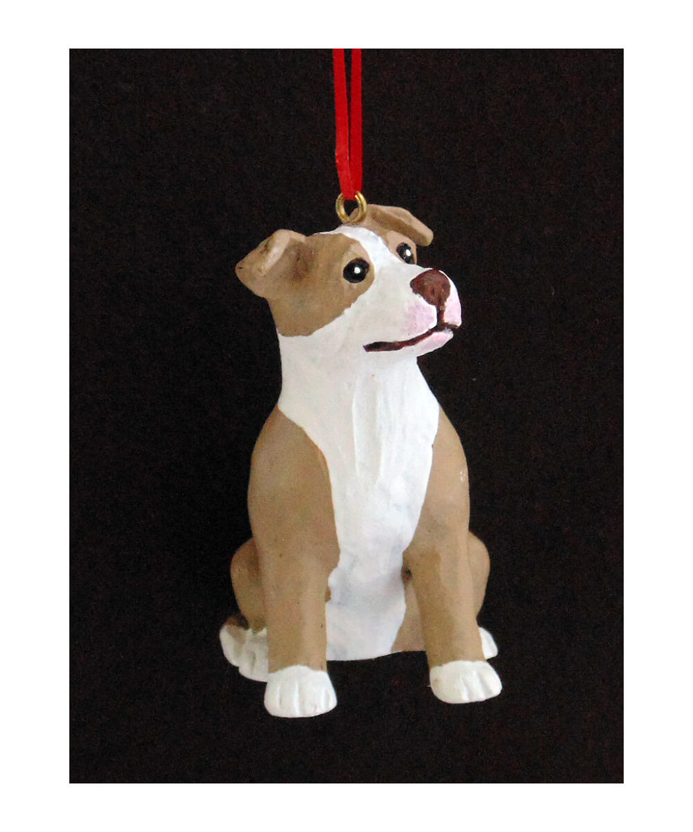 Hand-painted Pit Bull Christmas Ornament – Fawn and White