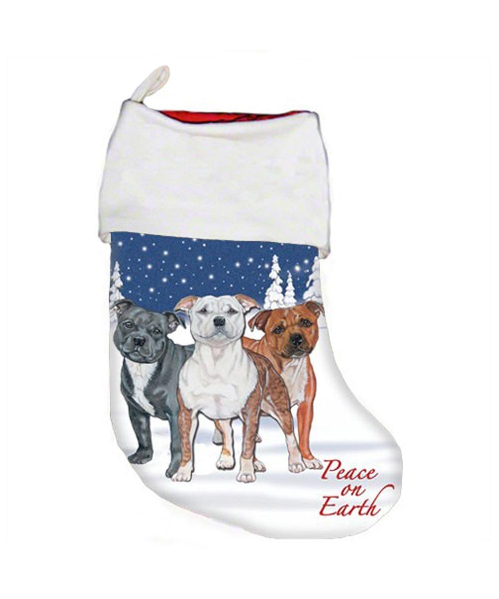 Pit Bull Christmas Stocking (Staffie Trio)