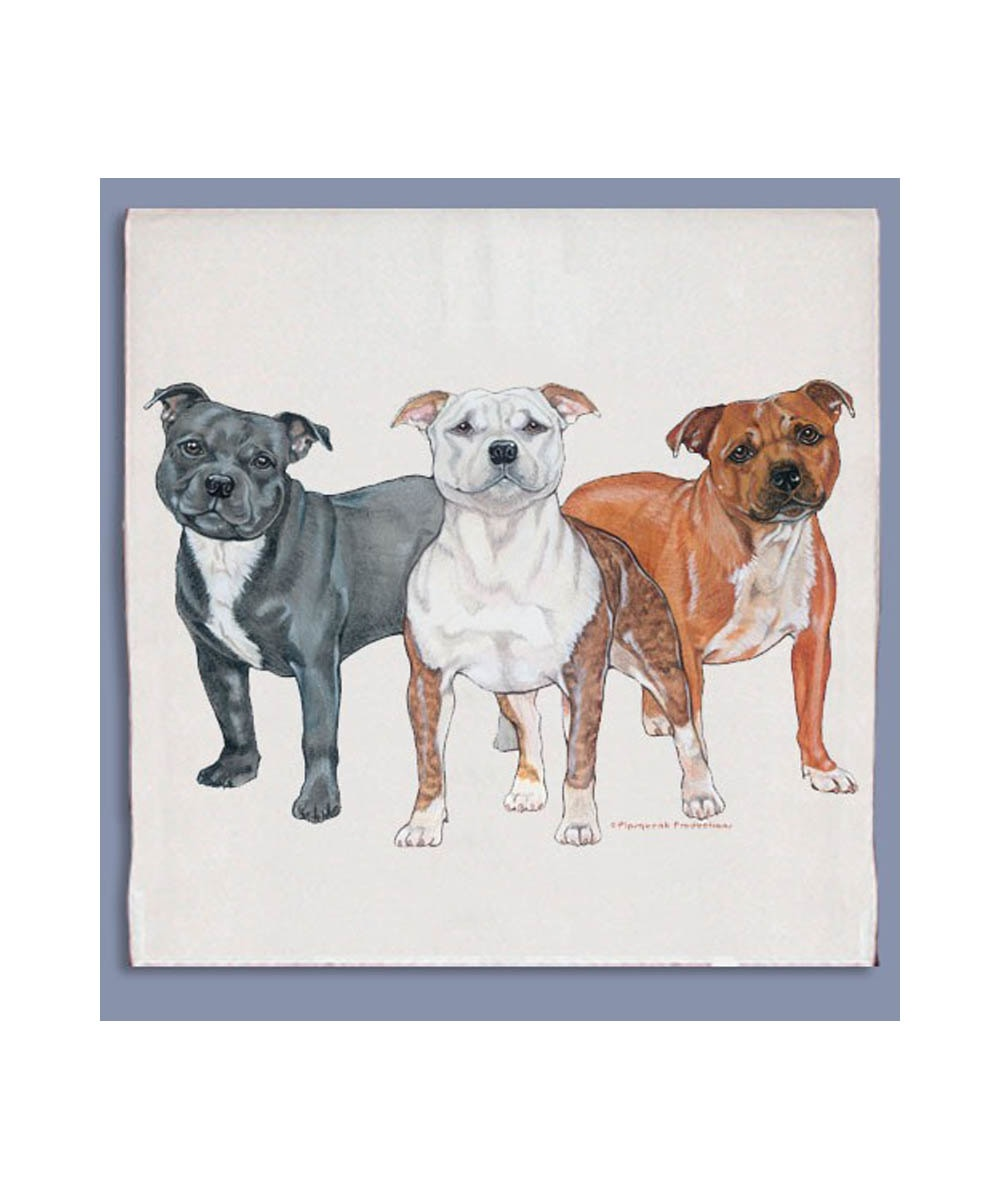 Pit Bull Dishtowel (Staffie Trio)