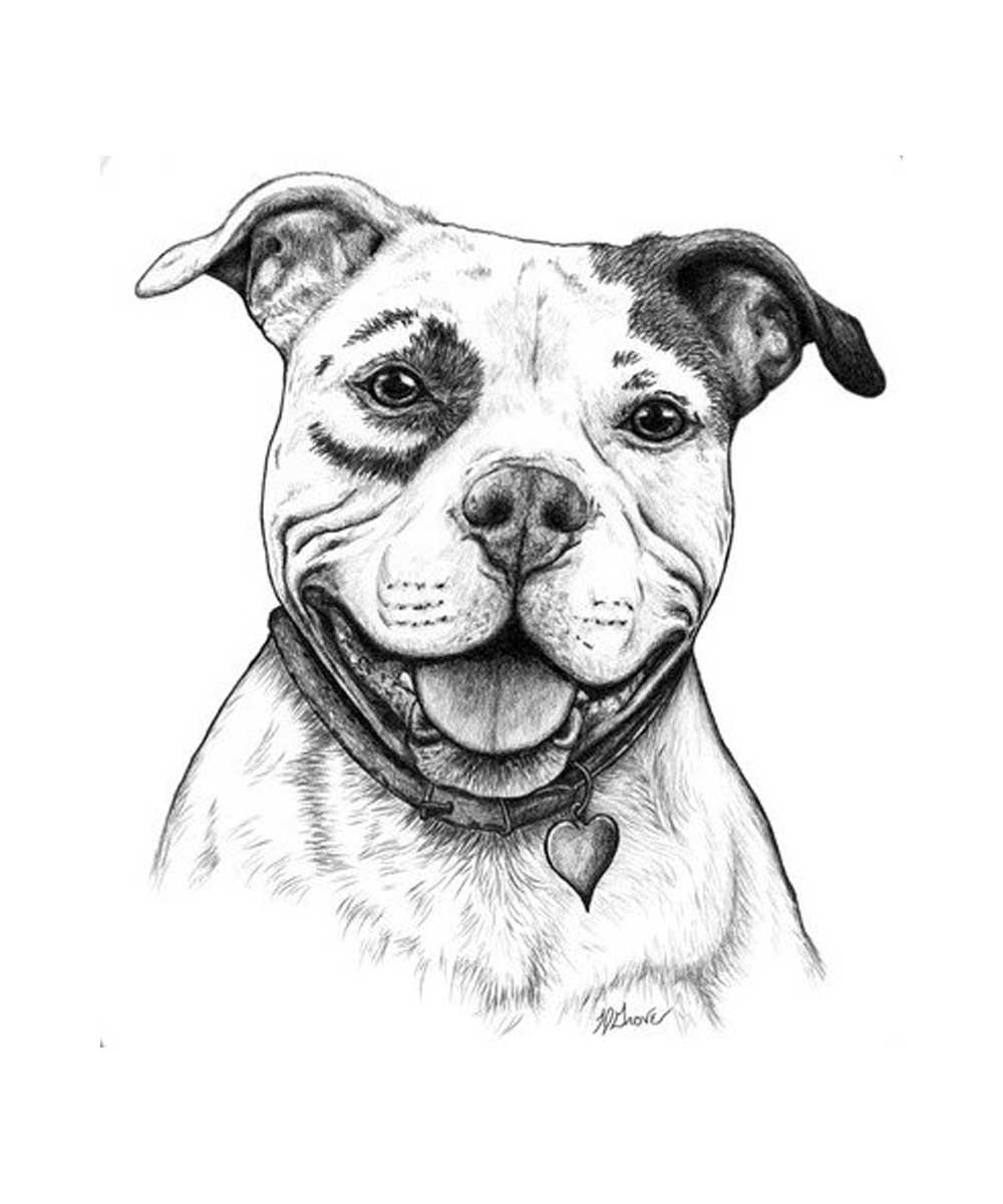 Happy Pit Bull Print