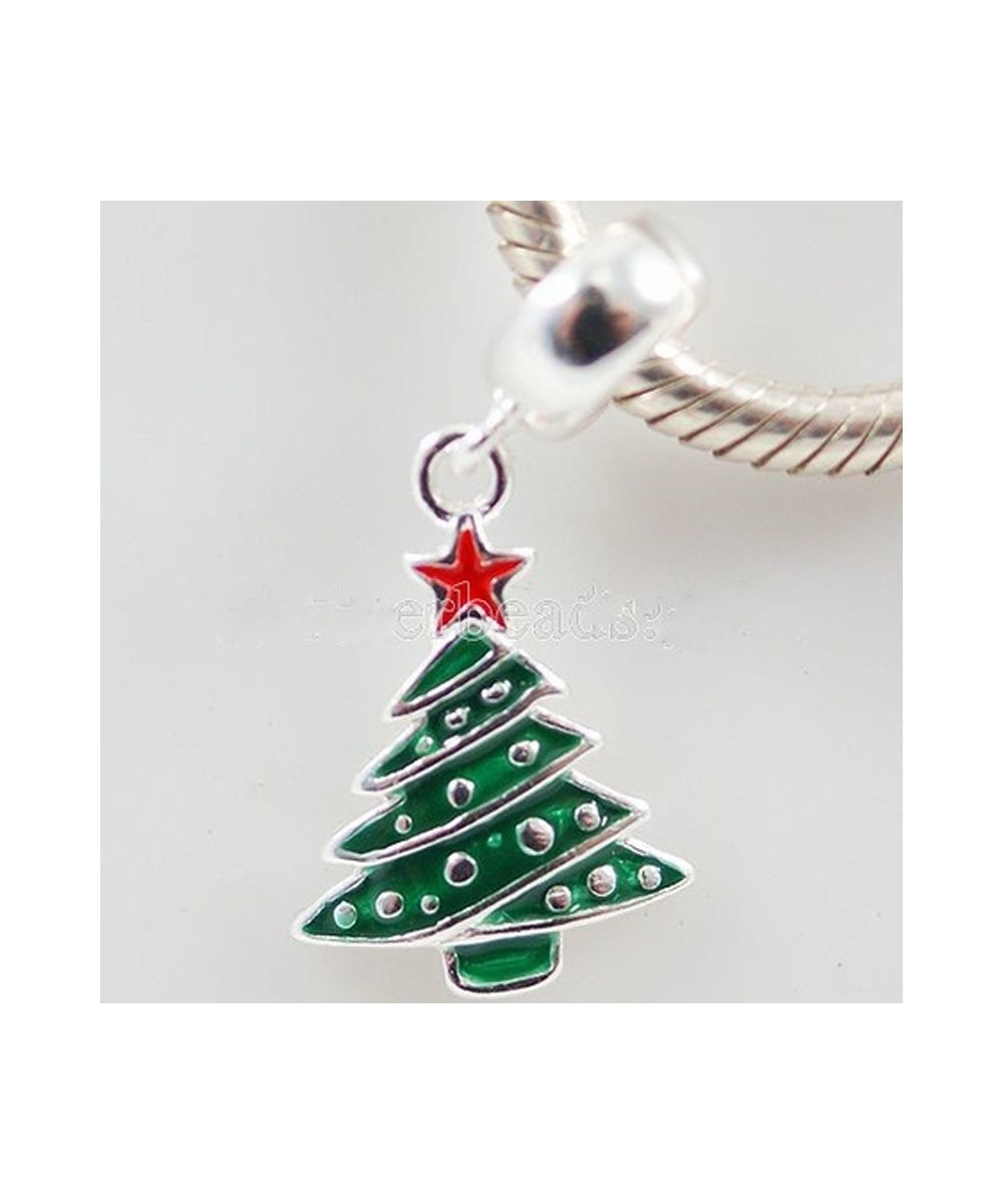 Sterling Silver Christmas Tree European Style Charm
