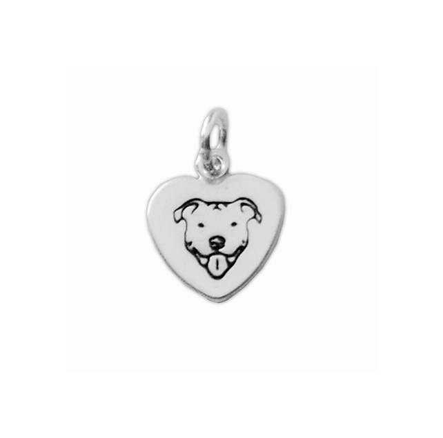 Sterling Silver Smiling Pit Bull Heart Charm