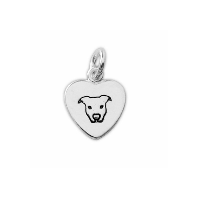 Sterling Silver Peaceful Pit Bull Heart Charm