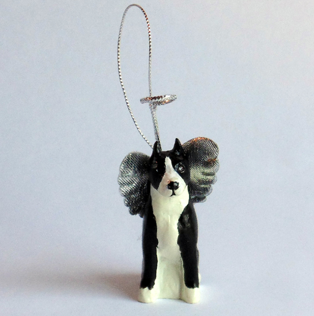 Black and White Pit Bull Angel ornament