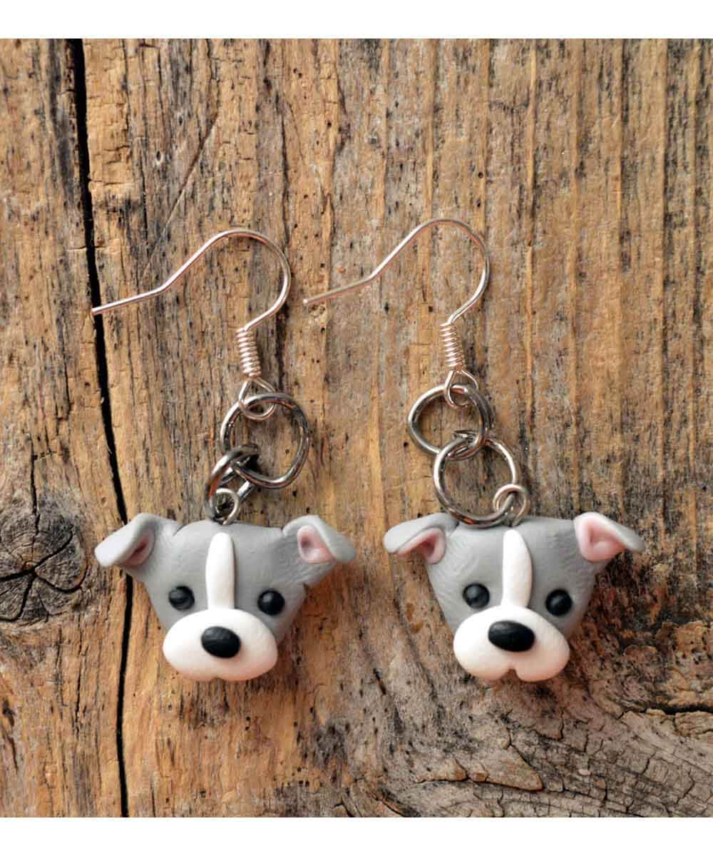 Itty Bitty Pittie Earrings (Gray - Natural Ears)