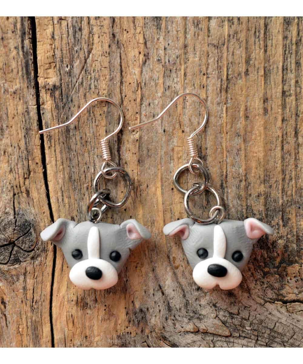 Itty Bitty Pittie Earrings (Gray - Natural Ears)