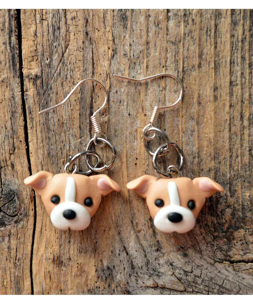 Itty Bitty Pittie Earrings (Tan - Natural Ears)