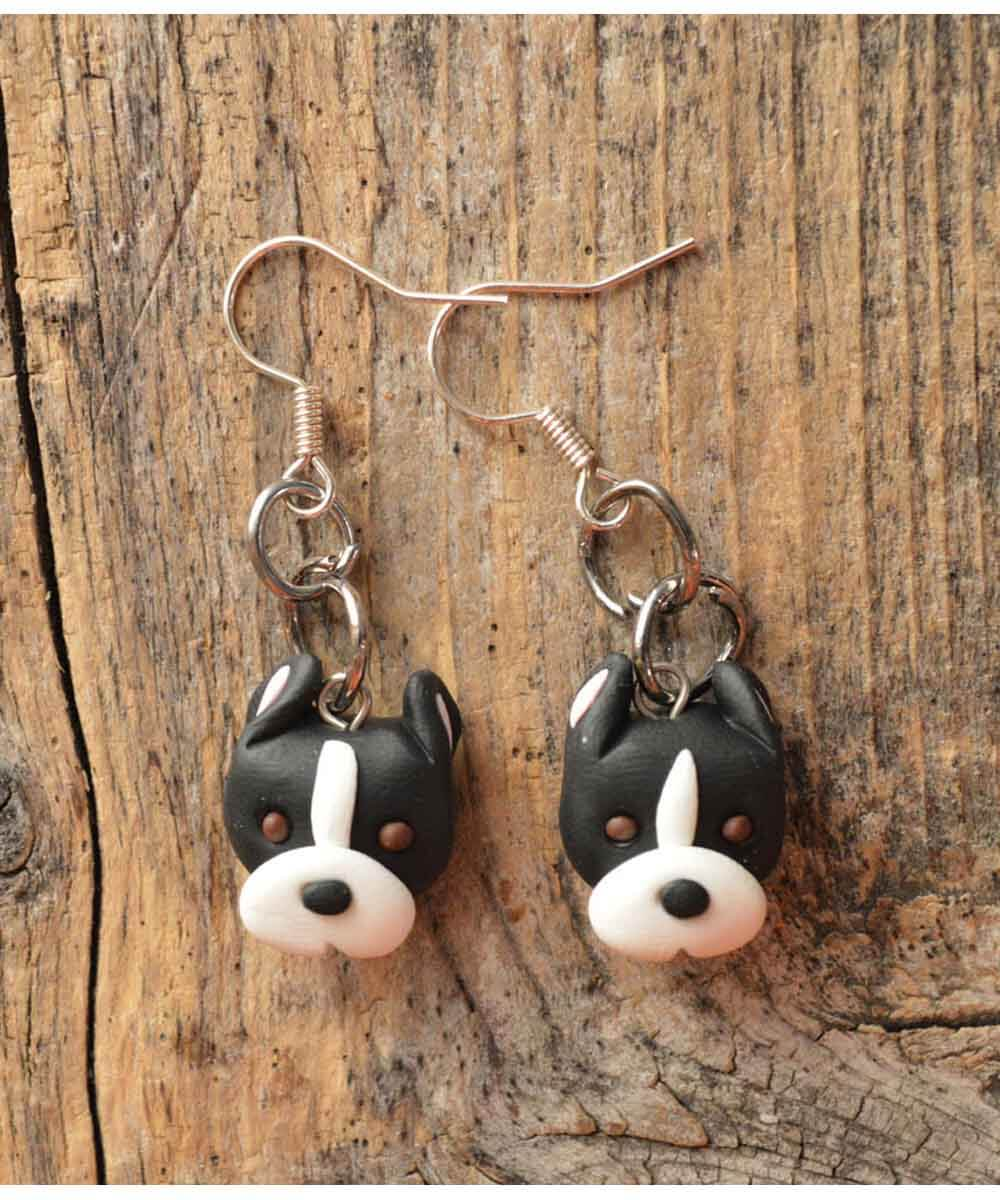 Itty Bitty Pittie Earrings (Black - Cropped Ears)