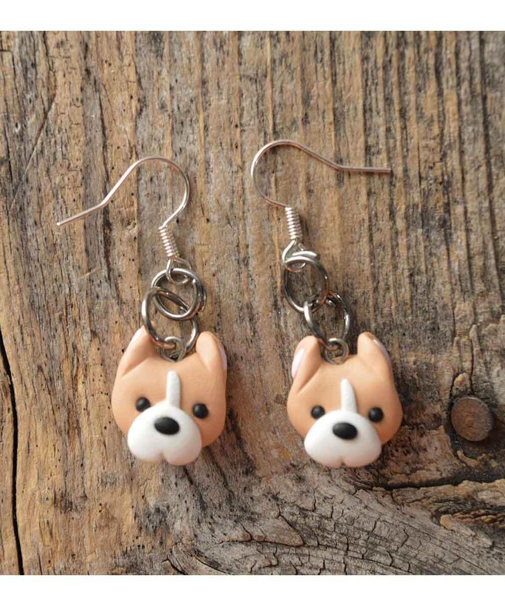 Itty Bitty Pittie Earrings (Tan - Cropped Ears)