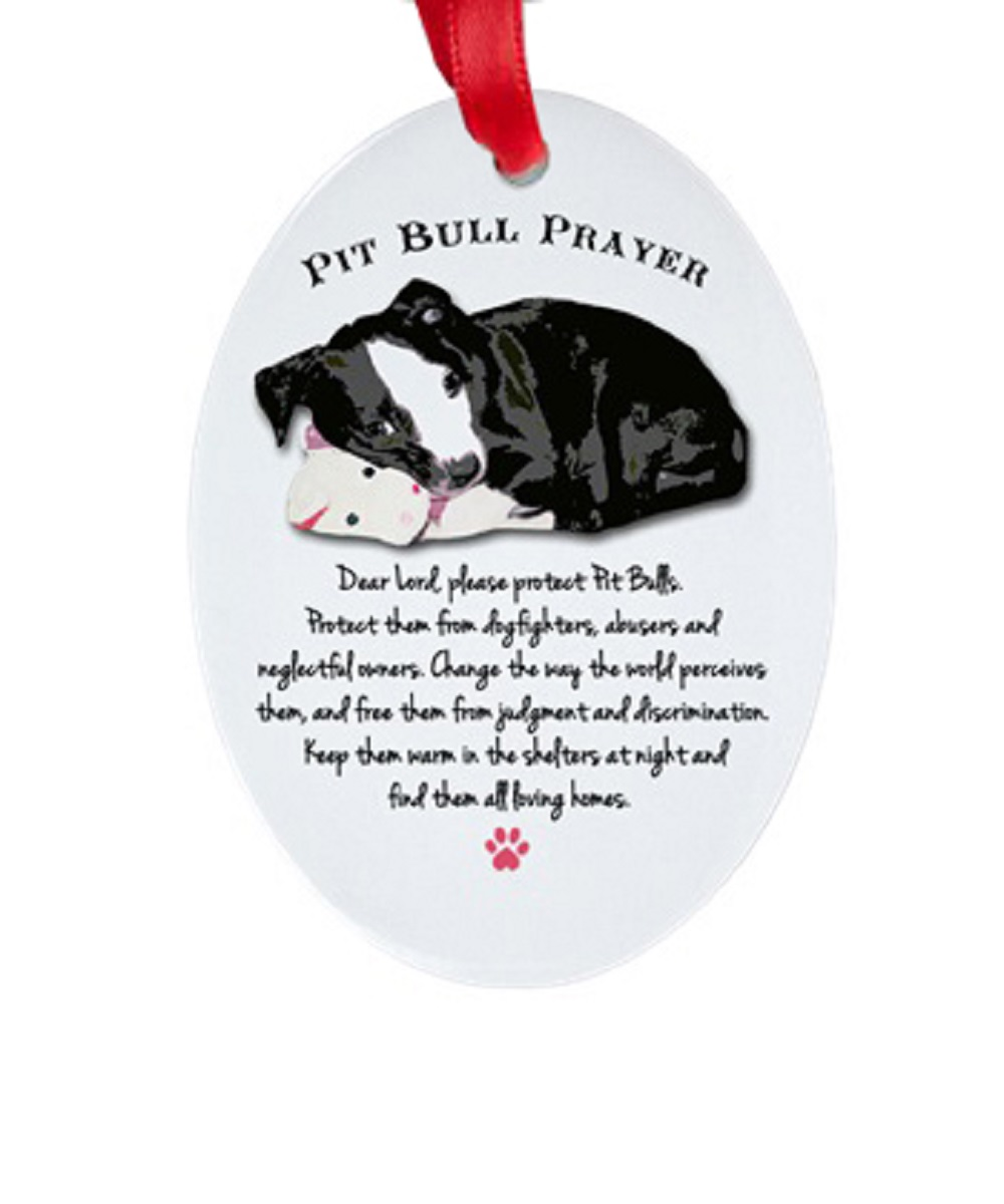 Pit Bull Prayer Oval Porcelain Ornament