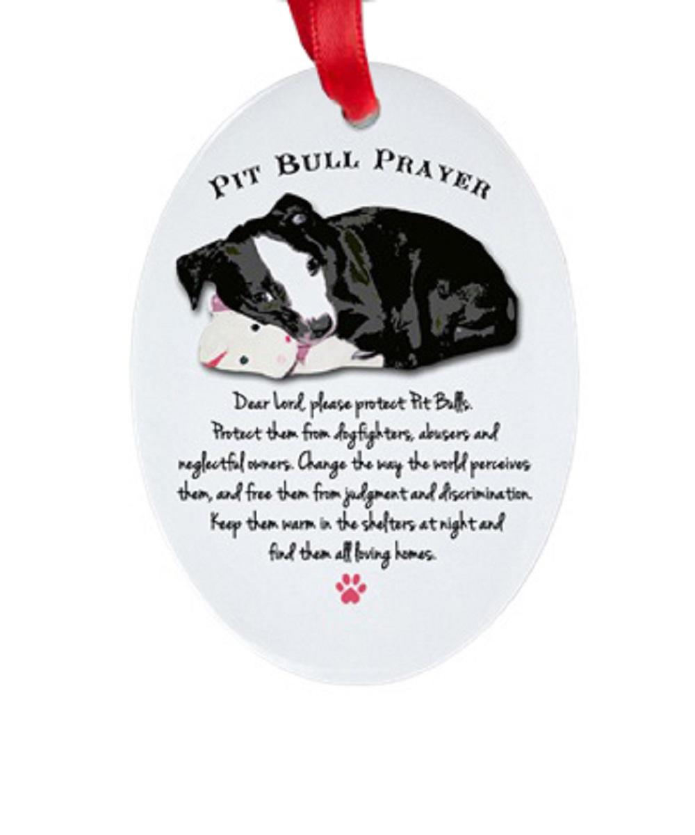 Pit Bull Prayer Oval Porcelain Ornament