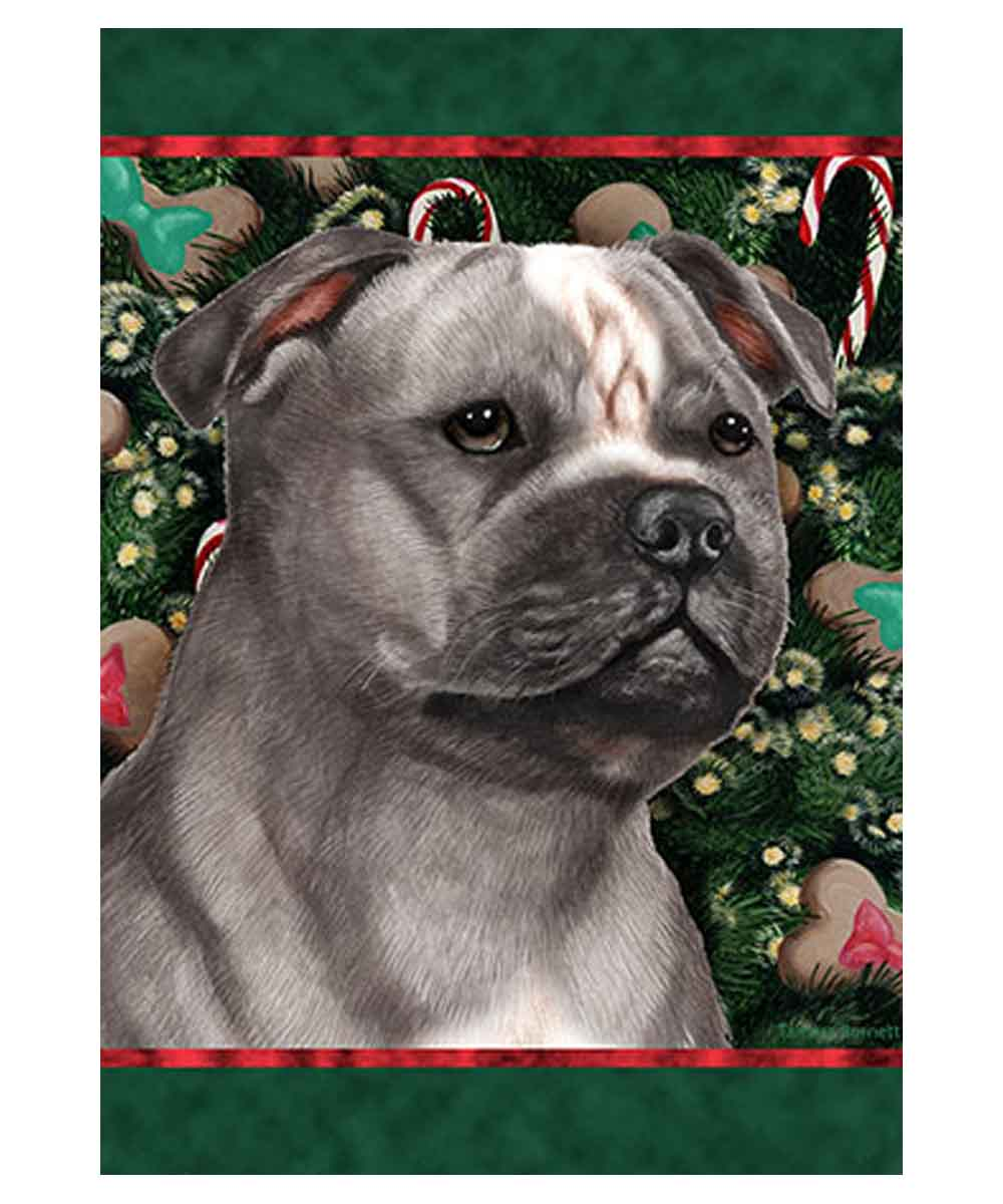 Pit Bull Holiday Treats Garden Flag (Gray and White)
