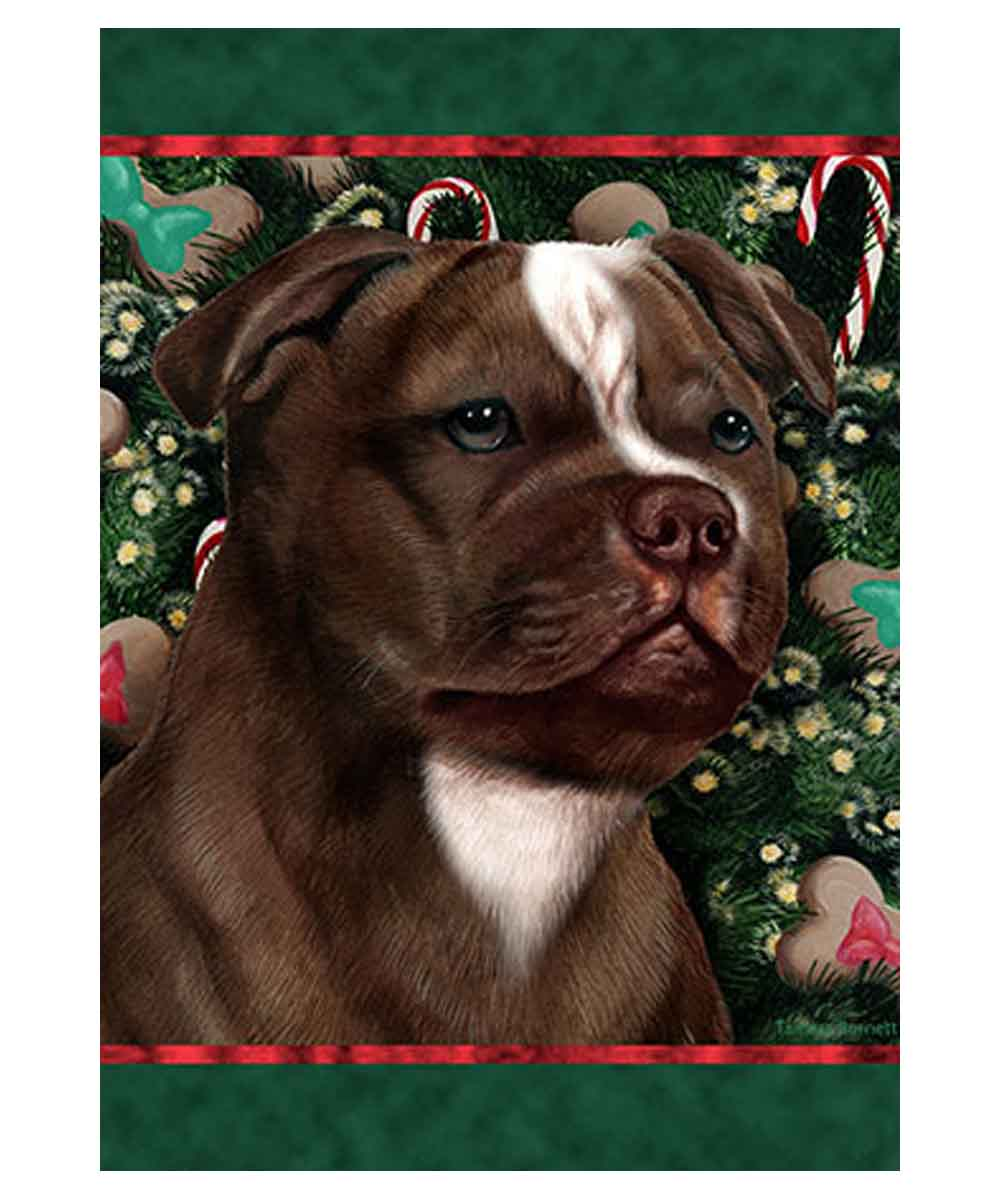Pit Bull Holiday Treats Garden Flag (Brown and White)