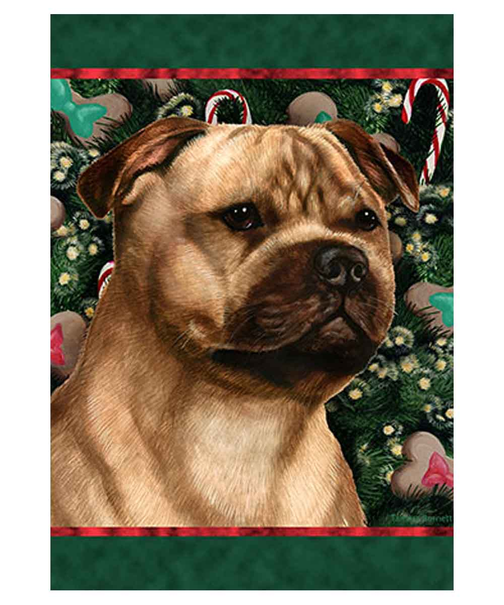 Pit Bull Holiday Treats Garden Flag (Fawn)