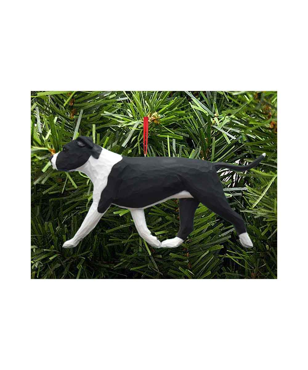 Hand Painted Carving Pit Bull Christmas Ornament – Black and White