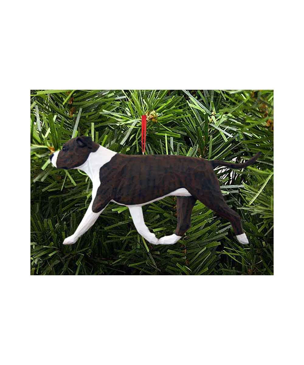 Hand Painted Carving Pit Bull Christmas Ornament – Brindle and White
