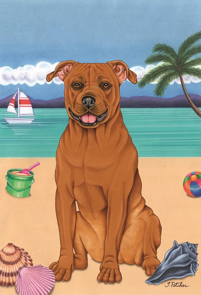 Tan Pit Bull Summer on the Beach Garden Flag