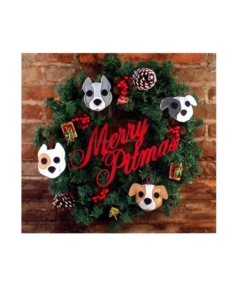 Merry Pitmas Wreath with 4 Pit Bull Ornaments