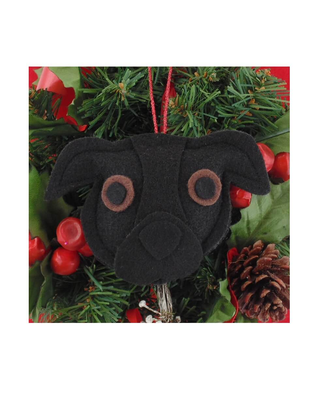 Pit Bull Ornament - Black - Natural Ears