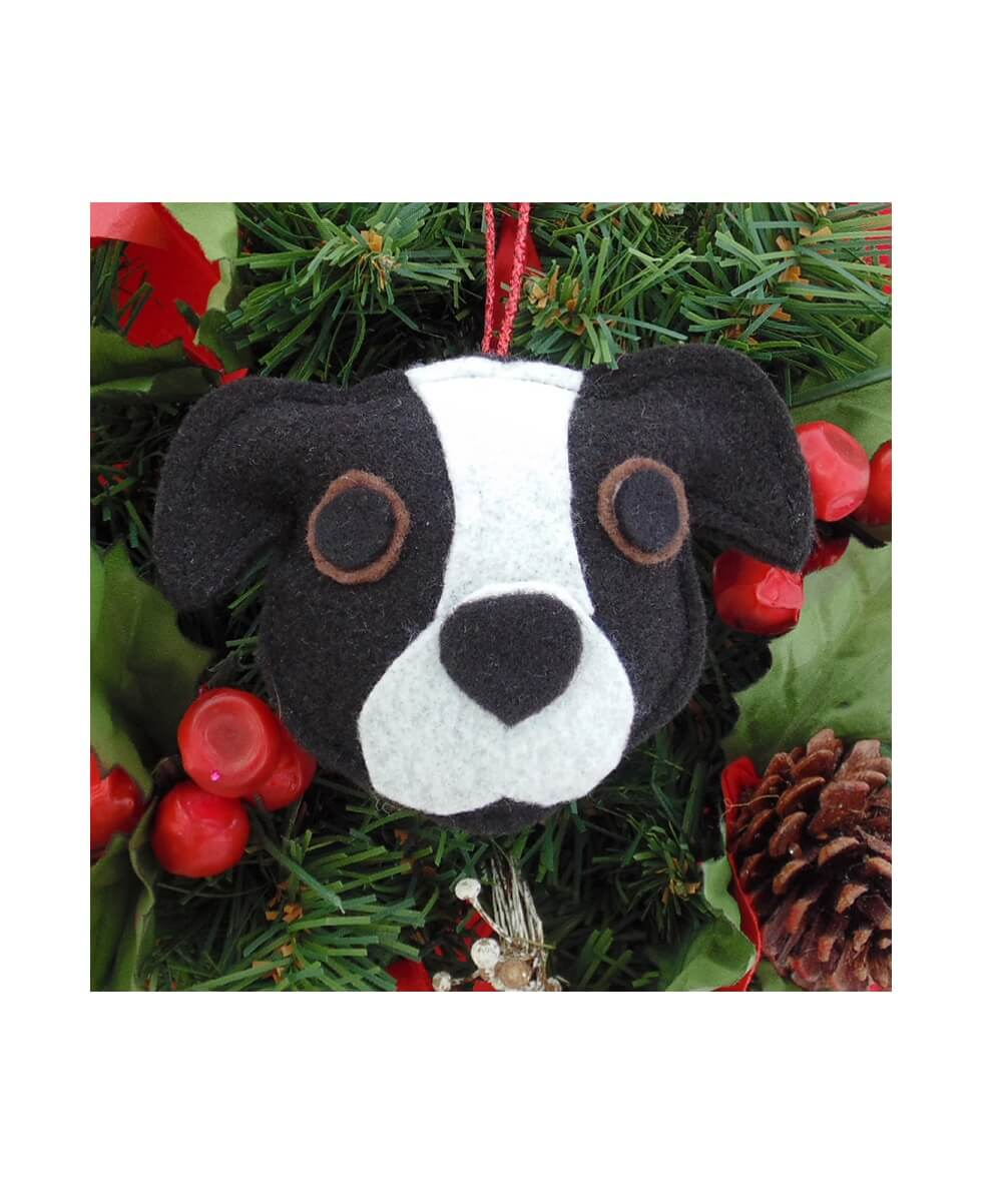 Pit Bull Ornament - Black & White - Natural Ears
