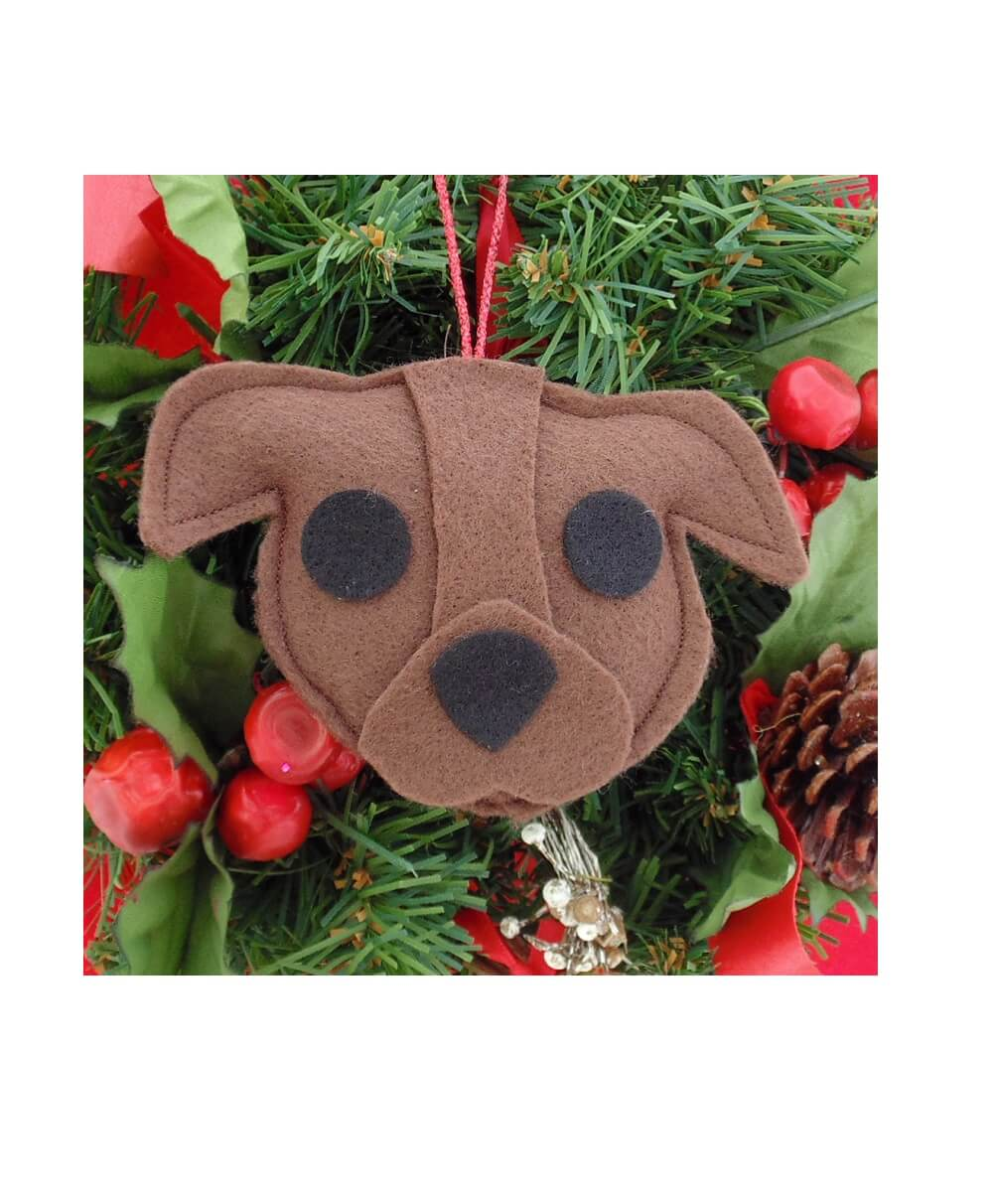 Pit Bull Ornament - Brown - Natural Ears