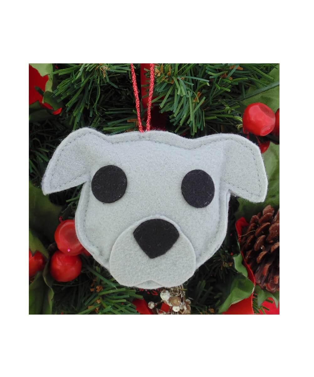 Pit Bull Ornament - Gray - Natural Ears