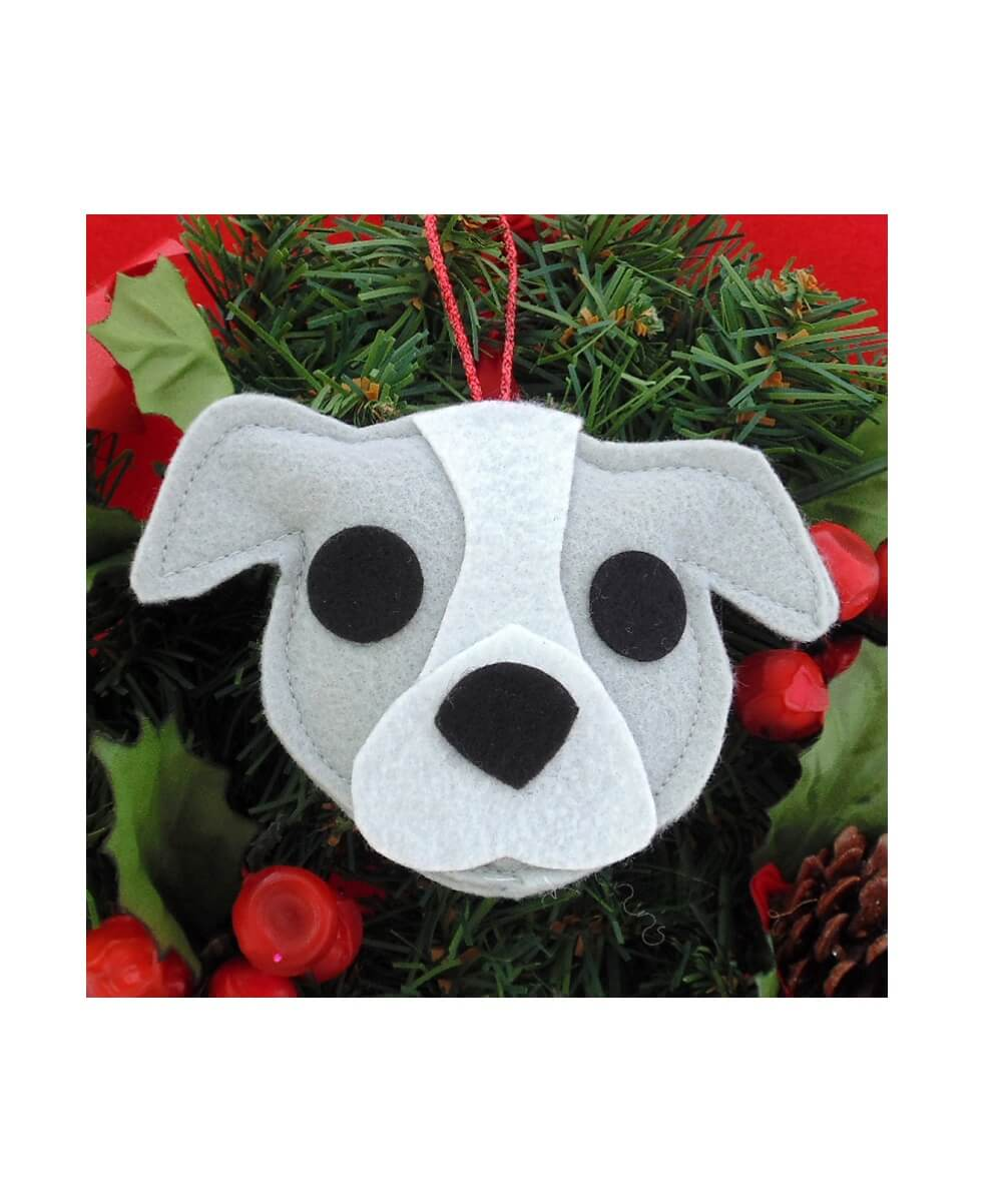 Pit Bull Ornament - Gray & White - Natural Ears