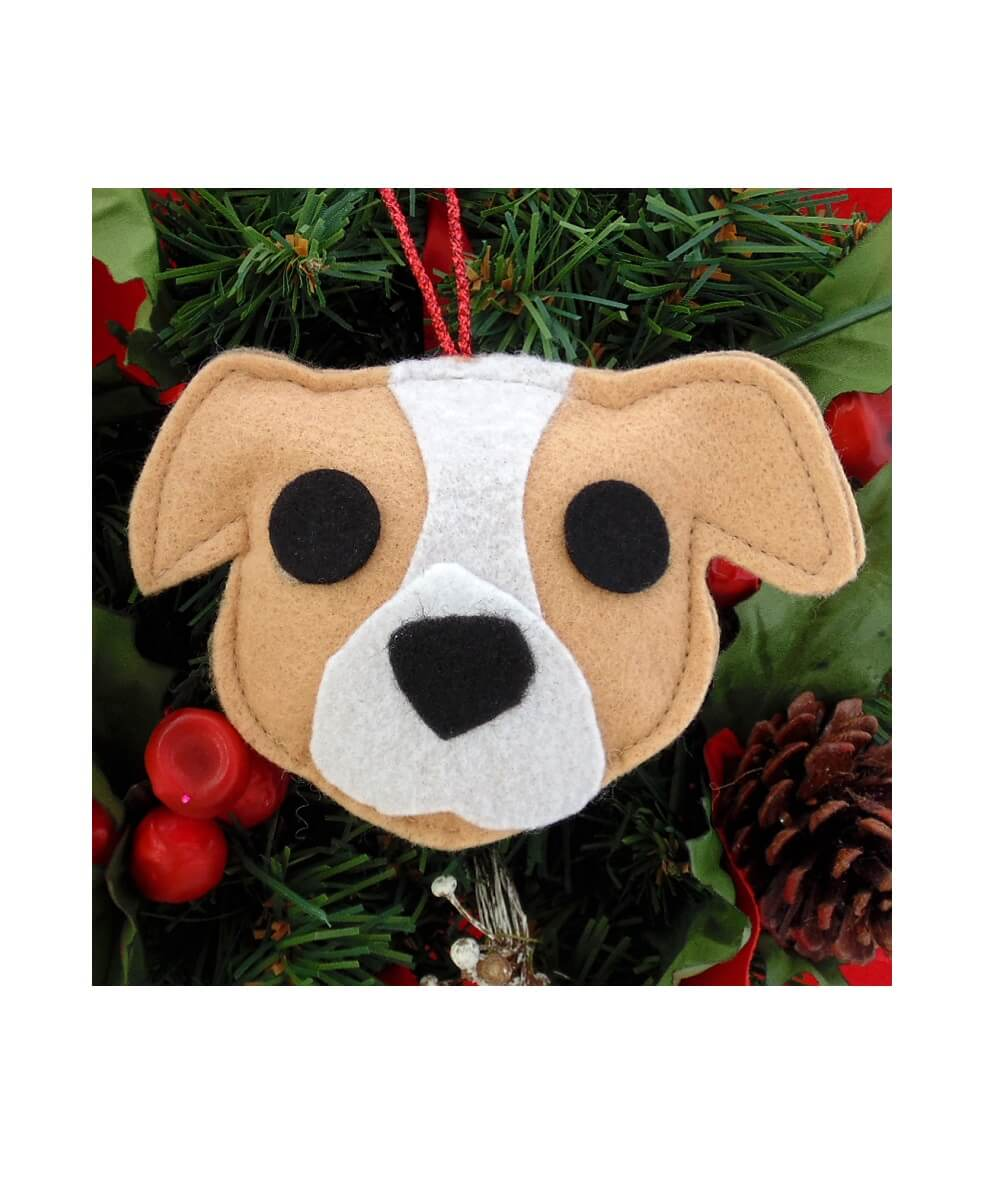 Pit Bull Ornament - Tan & White - Natural Ears