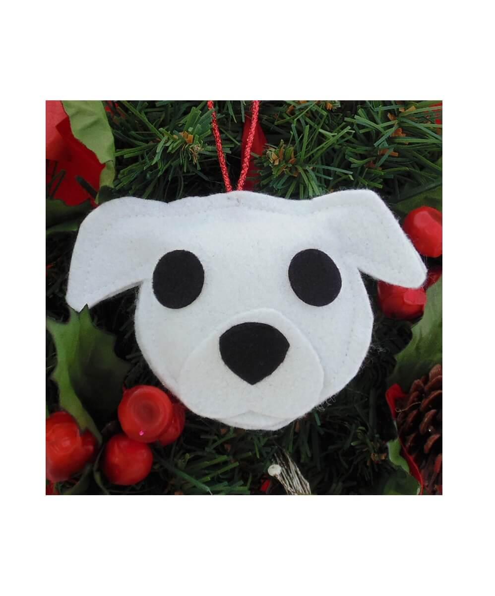 Pit Bull Ornament - White - Natural Ears