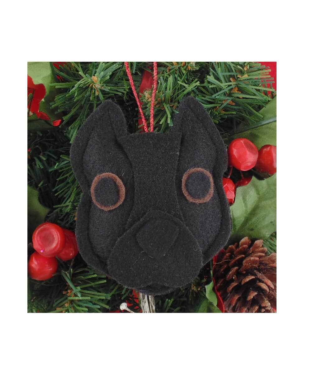 Pit Bull Ornament - Black - Cropped Ears