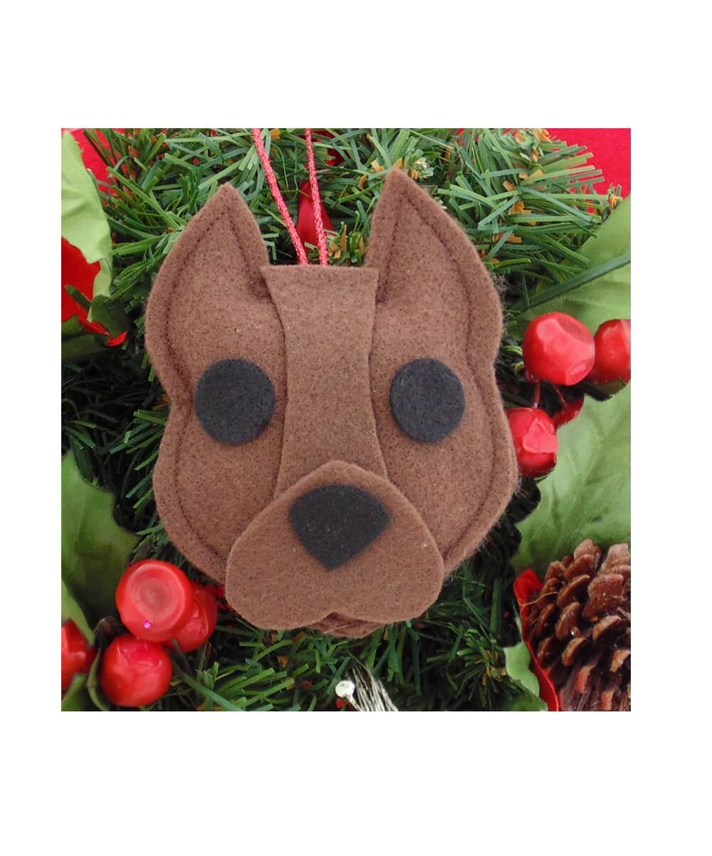Pit Bull Ornament - Brown - Cropped Ears