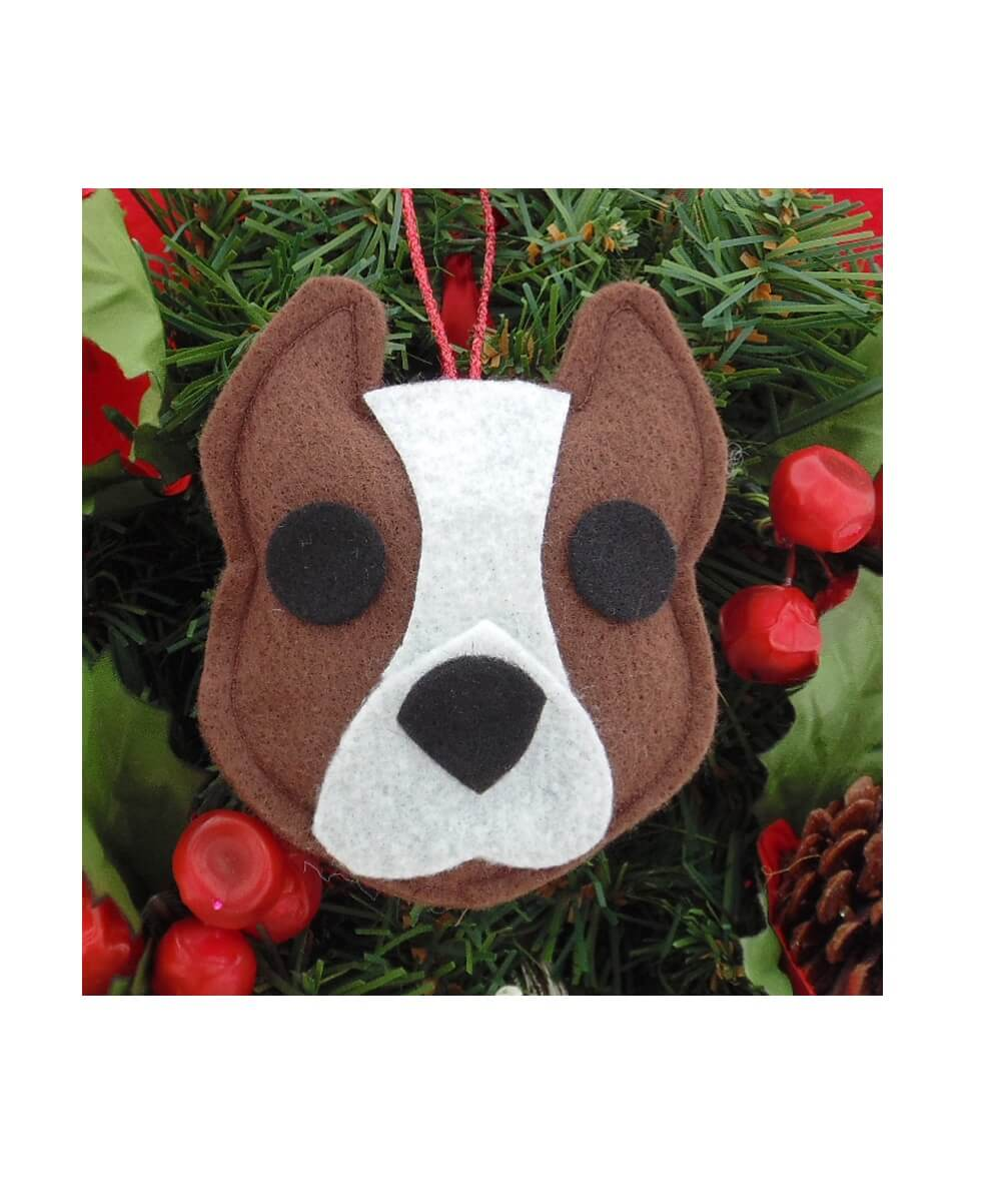 Pit Bull Ornament - Brown & White - Cropped Ears