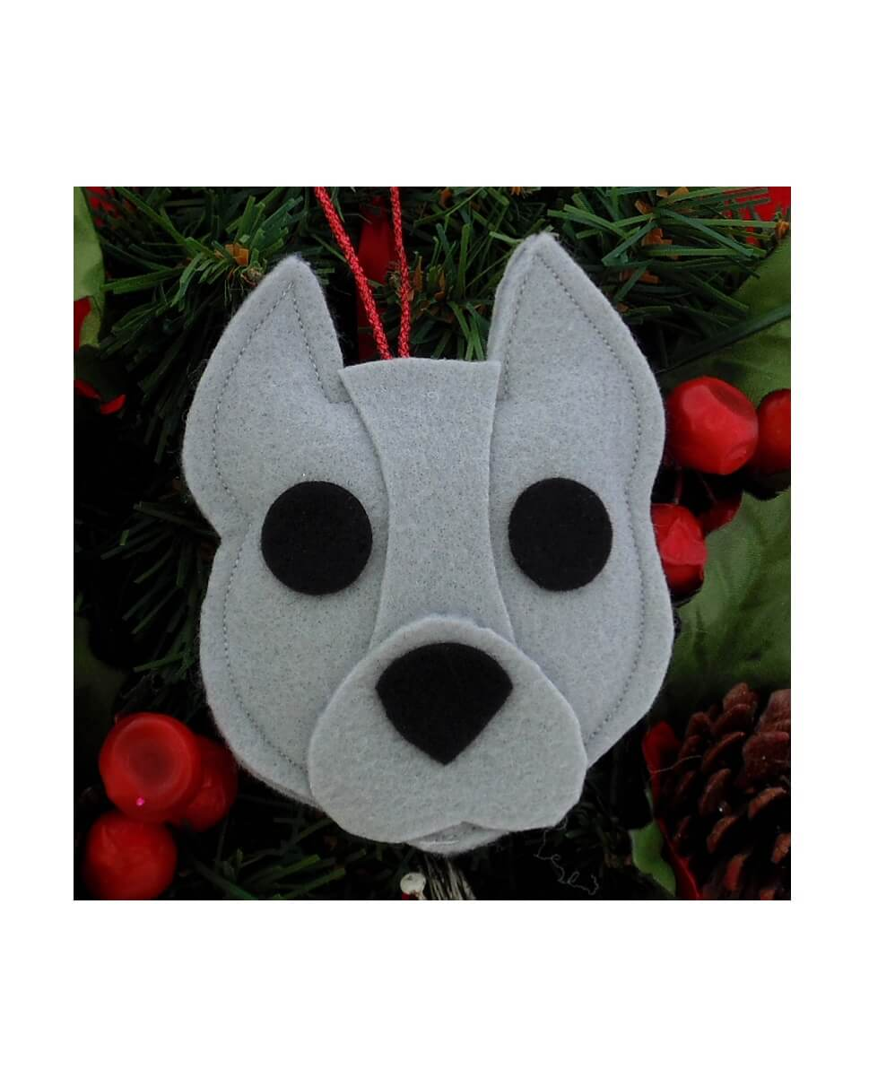Pit Bull Ornament - Gray - Cropped Ears