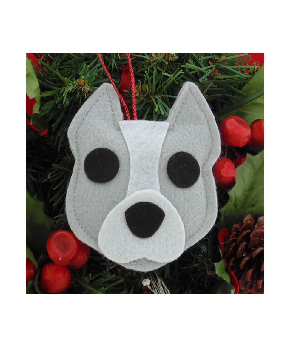 Pit Bull Ornament - Gray & White - Cropped Ears