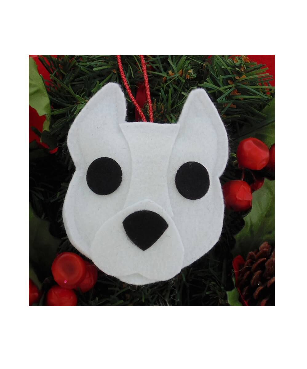 Pit Bull Ornament - White - Cropped Ears