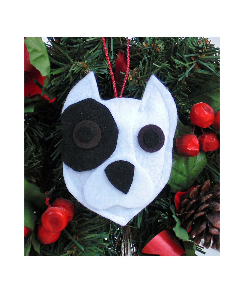Pit Bull Ornament - White with Black Patch - Cropped Ears