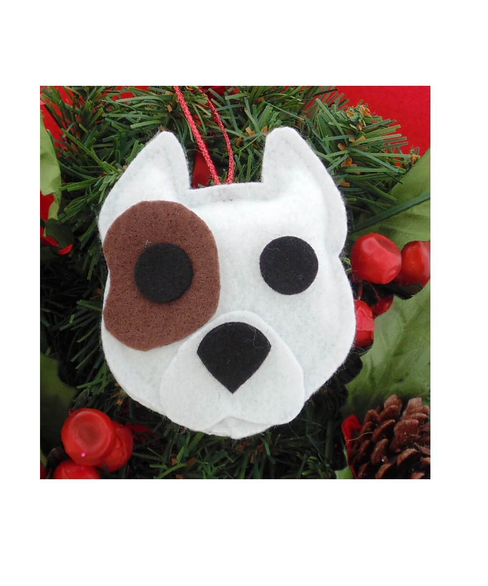 Pit Bull Ornament - White with Brown Patch - Cropped Ears